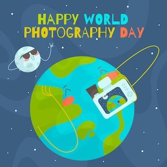 Conceito de dia de fotografia de mundo de design plano