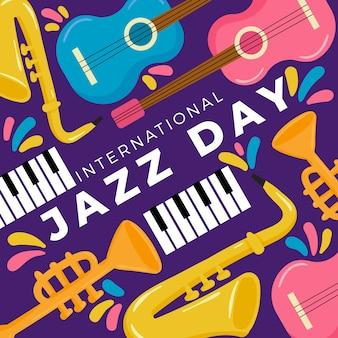 Conceito de dia de jazz internacional design plano