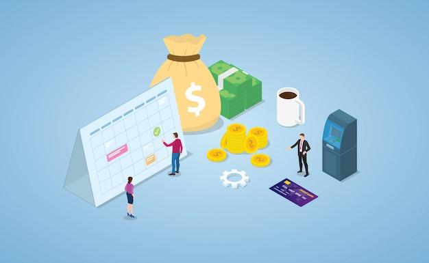 Conceito de dia de pagamento com calendário e dinheiro em dinheiro com moderno estilo isométrico