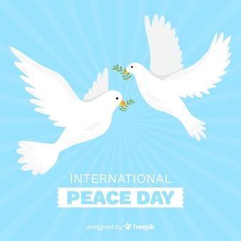 Conceito de dia de paz com mão desenhada pomba