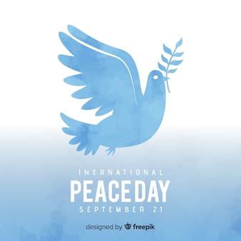 Conceito de dia de paz com pomba aquarela