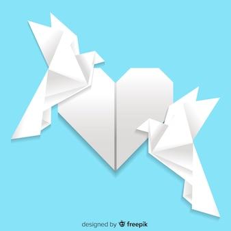 Conceito de dia de paz com pomba de origami