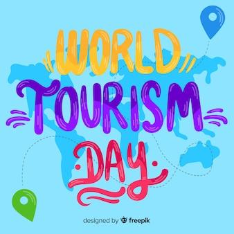 Conceito de dia de turismo com letras