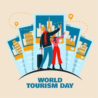 Conceito de dia de turismo desenhado à mão