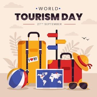 Conceito de dia de turismo em mundo plano