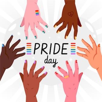Conceito de dia do orgulho com as mãos e arco-íris