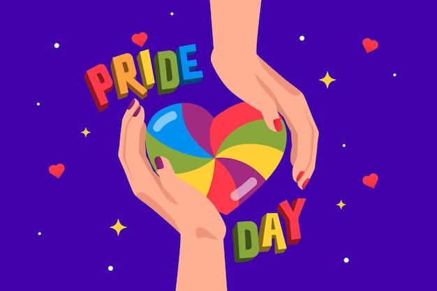 Conceito de dia do orgulho com as mãos segurando coração arco-íris