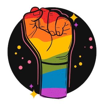 Conceito de dia do orgulho com punho colorido arco-íris