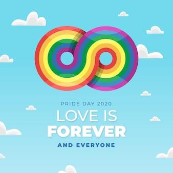 Conceito de dia do orgulho com sinal de arco-íris infinito