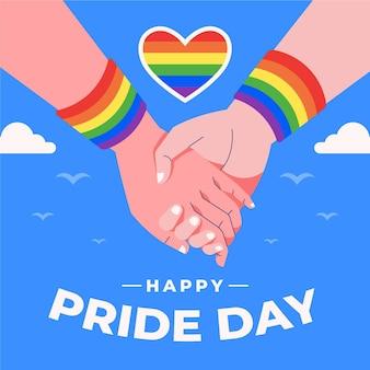 Conceito de dia do orgulho retendo as mãos e coração
