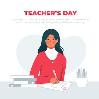 Conceito de dia do professor com ilustração de professora