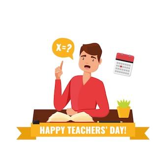 Conceito de dia do professor feliz. cartão com o professor professor sentado à mesa com um livro e fazendo uma ilustração de pergunta.