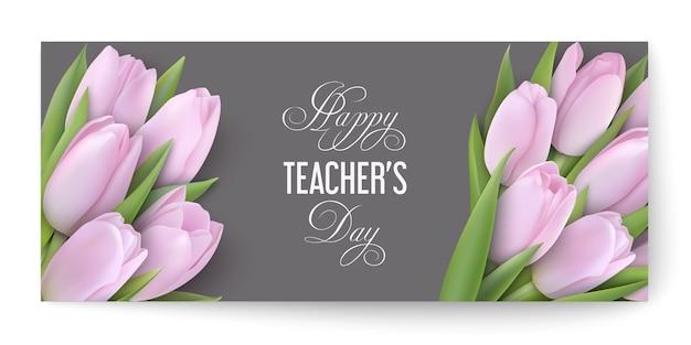 Conceito de dia do professor feliz com delicadas tulipas cor de rosa em um cartão cinza com texto de parabéns.