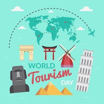 Conceito de dia do turismo mundial em design plano
