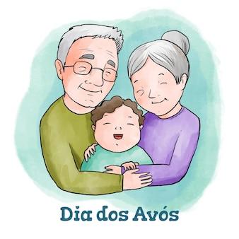Conceito de dia dos avós desenhado à mão