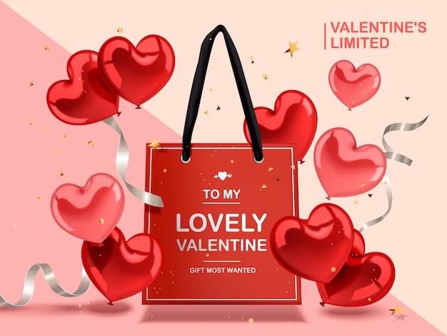 Conceito de dia dos namorados, balões de coração vermelhos e fitas de prata com saco de papel vermelho