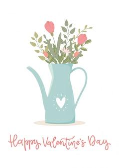 Conceito de dia dos namorados. cartão de presente romântico com buquê de flores em um bule de chá.