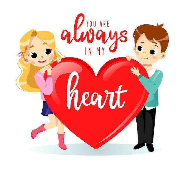 Conceito de dia dos namorados. desenho animado jovem casal apaixonado, homem e mulher, estão segurando um grande coração.