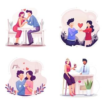 Conceito de dia dos namorados. jantar romântico namoro casais
