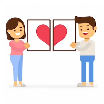 Conceito de dia dos namorados. par, segurando, coração vermelho, em, molduras para retrato