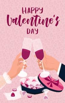 Conceito de dia dos namorados. um homem e uma mulher comemoram 14 de fevereiro, brindam com vinho tinto e comem doces de chocolate. fundo rosa com pequenos corações. cartão, cartaz, folheto.