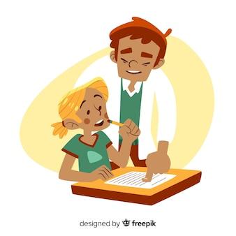 Conceito de dia dos professores com fundo de mão desenhada
