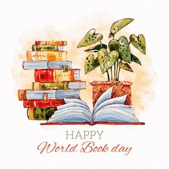 Conceito de dia em aquarela mundo livro