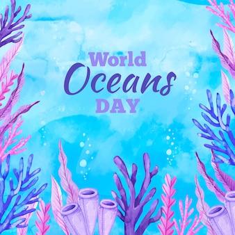Conceito de dia em aquarela mundo oceanos