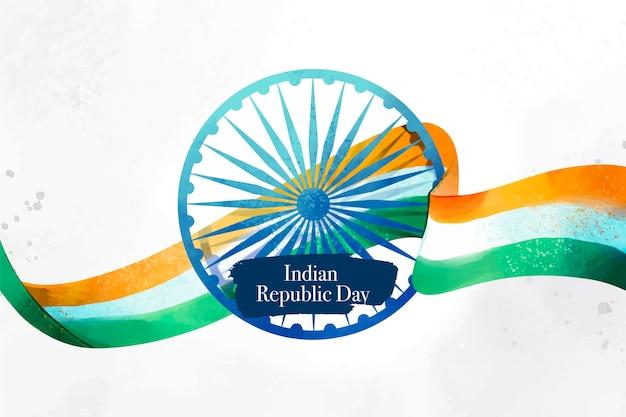 Conceito de dia em aquarela república indiana