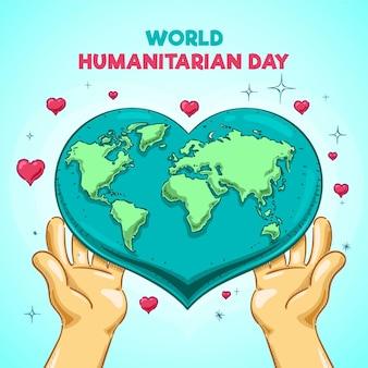 Conceito de dia humanitário mundial de mão desenhada