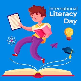 Conceito de dia internacional da alfabetização de design plano