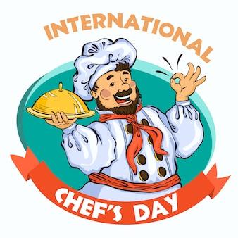 Conceito de dia internacional do chef. ilustração dos desenhos animados do chef dia vector conceito fundo