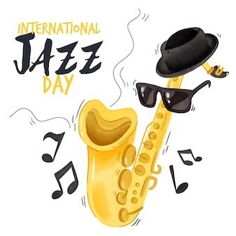 Conceito de dia internacional do jazz em aquarela