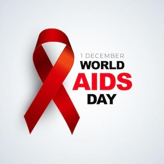 Conceito de dia mundial da aids de dezembro com sinal de fita vermelha.