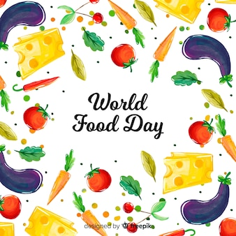 Conceito de dia mundial da comida com fundo aquarela