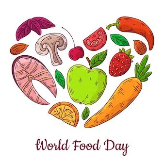 Conceito de dia mundial da comida desenhado à mão