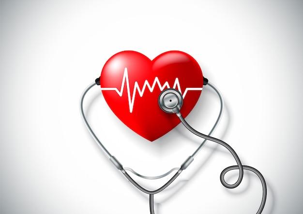 Conceito de dia mundial da saúde com coração e estetoscópio