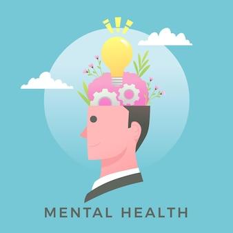 Conceito de dia mundial de saúde mental de design plano