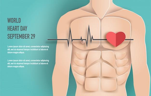 Conceito de dia mundial do coração, corpo de homem com linha de batimento cardíaco.