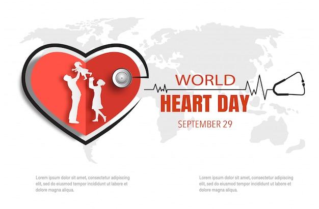 Conceito de dia mundial do coração, família feliz com a linha do batimento cardíaco.