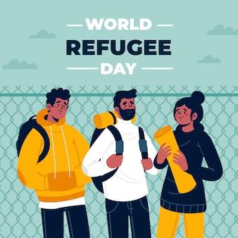 Conceito de dia mundial do refugiado design plano