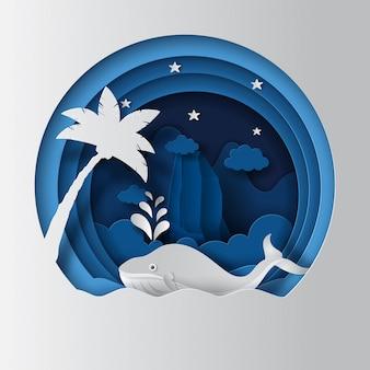 Conceito de dia mundial dos oceanos, baleia no oceano com árvores e montanhas.