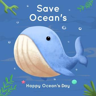 Conceito de dia mundial dos oceanos design plano