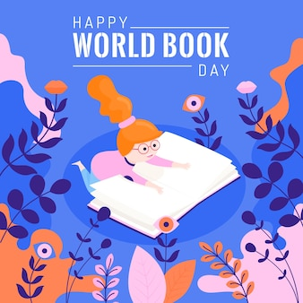 Conceito de dia mundial livro plana