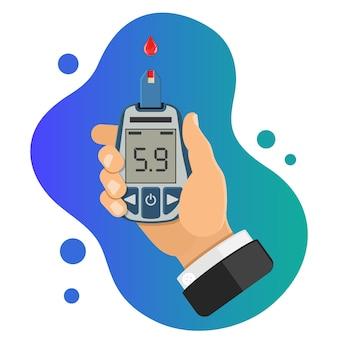 Conceito de diabetes. mão segura o medidor de glicose no sangue. teste do nível de açúcar no sangue, tratamento, monitoramento e diagnóstico de diabetes. ícone em estilo simples. ilustração vetorial isolada