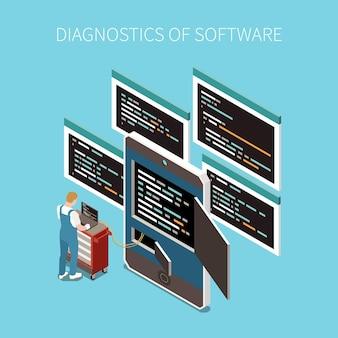 Conceito de diagnóstico de software com símbolos de código de programação isométricos