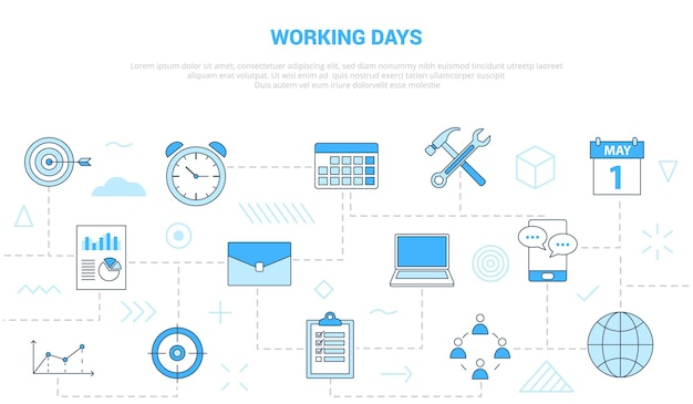 Conceito de dias úteis com banner de modelo de conjunto de ícones com ilustração em vetor moderno estilo de cor azul