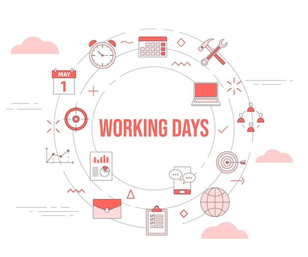 Conceito de dias úteis com conjunto de ícones de banner de modelo e vetor de forma redonda de círculo