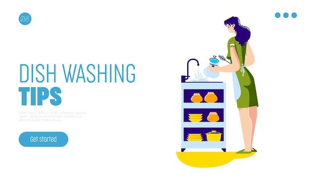 Conceito de dicas de lavagem de pratos