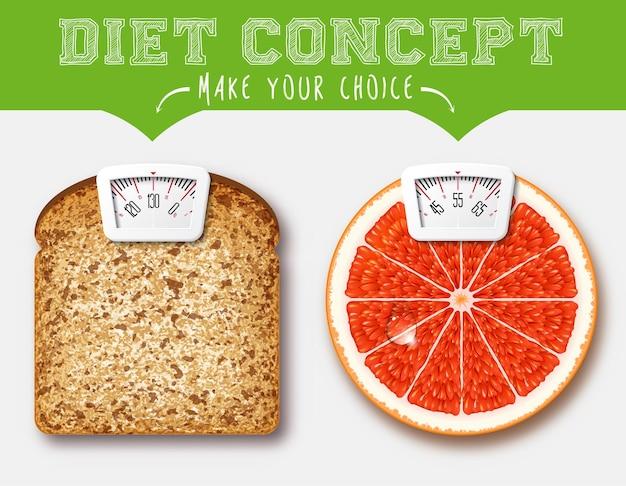 Conceito de dieta. alimentos com balança para uma máquina de pesagem